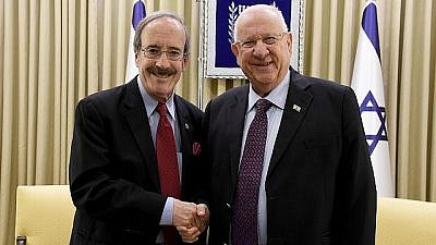 Rep. Eliot Engel (D-N.Y.), left, with Israeli President Rivlin in Jerusalem on May 29, 2019. Credit: Haim Zach/GPO.