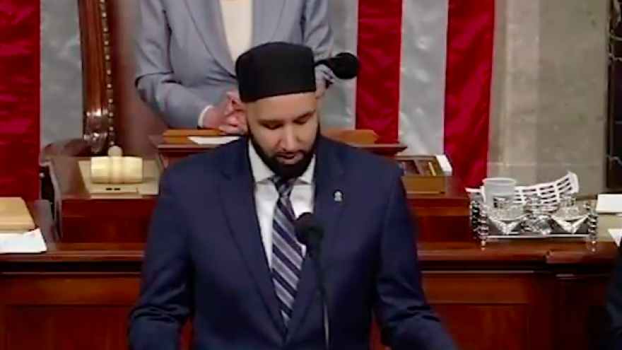 Omar Suleiman, founder and president of the Yaqeen Institute for Islamic Research in Texas, giving the opening convocation at the U.S. House of Representatives on May 9, 2019. Credit: Screenshot.