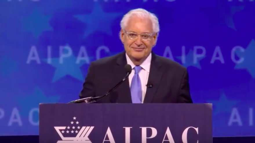 U.S. Ambassador to Israel David Friedman addresses the 2018 AIPAC Policy Conference in Washington, D.C.. Credit: Screenshot.