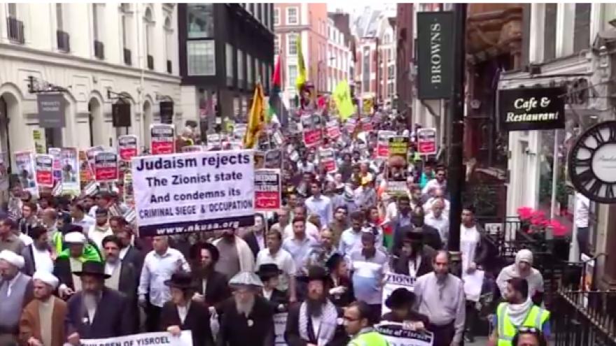 Al-Quds rally in London in 2014. Credit: Screenshot.