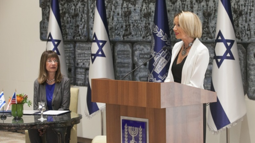 From left: Professor Nili Cohen, president of the Israel Academy of Sciences and Humanities and Dr. Marcia McNutt, president of the U.S. National Academy of Sciences. Credit: Israel Academy.