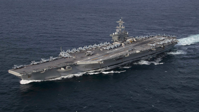 The U.S. Navy aircraft carrier 'USS Abraham Lincoln' (CVN-72) underway in the Atlantic Ocean during a strait transit exercise on Jan. 30, 2019. Credit: US Navy.