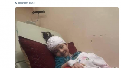 A tweet by Israeli Knesset member Ahmad Tibi blasts Israel for allegedly forcing a Gaza girl to die in a Jerusalem hospital without her parents. Israel adamantly denied the accusation, saying the girl's parents refused to enter Israel with her. Source: Twitter.