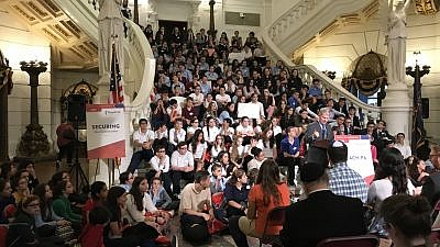 Pennsylvania State Sen. David Argall addressed the more than 300 Jewish-day school students, parents and administrators gathered at the State Capitol in Harrisburg. Credit: Teach PA.