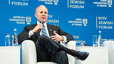 U.S. Special Envoy to Monitor and Combat Anti-Semitism Elan Carr speaks at the Kyiv Jewish Forum in Ukraine. Credit: Kyiv Jewish Forum.