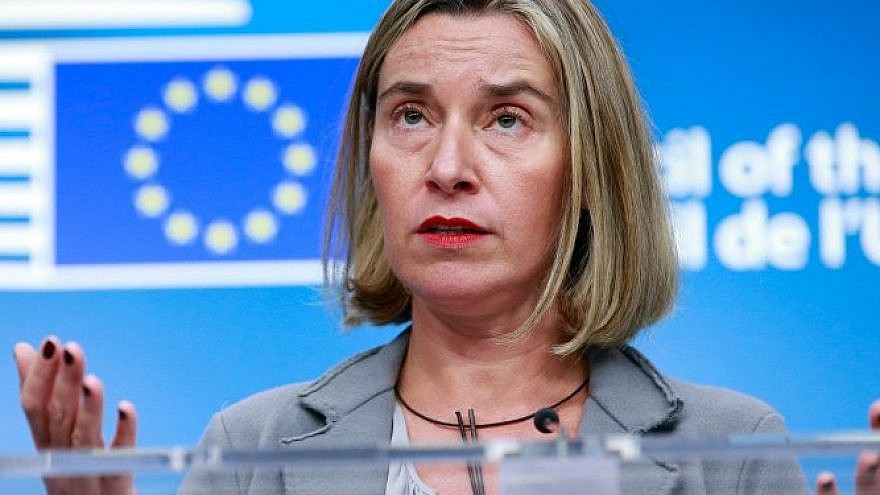European Union foreign-policy chief Federica Mogherini gives a press briefing on the flare-up in violence between Hamas and Israel. Credit: EPA.