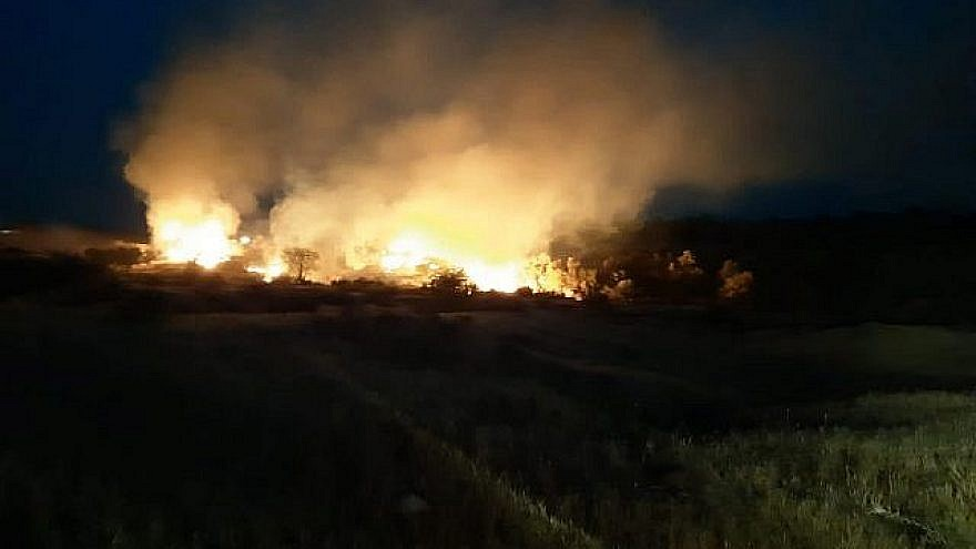 A fire rages in the Eshkol region of southern Israel on May 1, 2019. Credit: Tzvika Korbeshi/Eshkol Regional Council.
