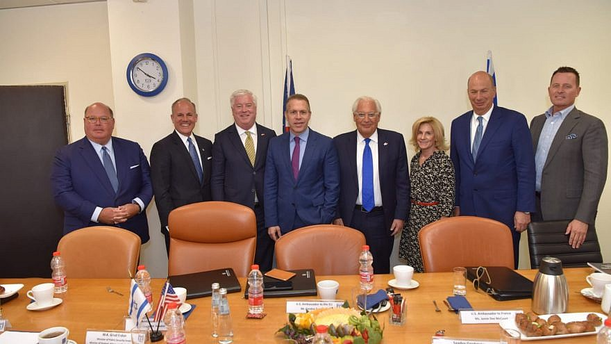 Israel's Strategic Affairs Minister Gilan Erdan (center) with a delegation of U.S. ambassadors visiting Israel on Sunday, including U.S. Ambassador to Israel David Friedman (center right) and U.S. Special Envoy to Monitor Anti-Semitism Elan Carr (far right). Credit: Strategic Affairs Ministry.