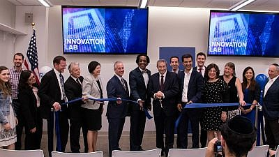 Yeshiva University officials, New York elected leaders, faculty, students and community members at the grand opening of the YU Innovation Lab, a partnership between New York and Israel, May 21, 2019. Credit: Yeshiva University.