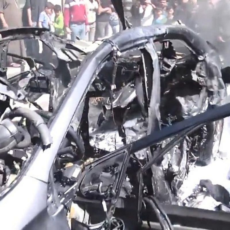 The bombed out car of Hamed al-Khoudary, a Hamas operative responsible for transferring funds from Iran to Gaza. A missile killed him on May 5, 2019. (Source: screenshot)