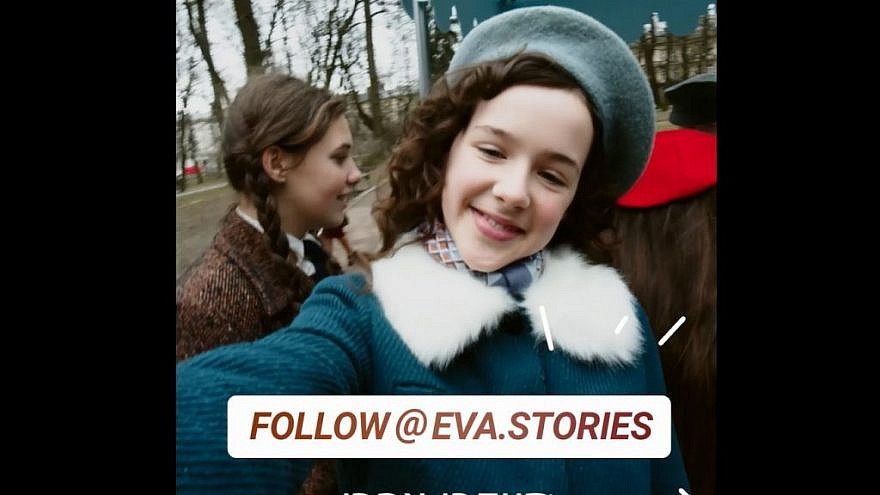 "A screenshot from ""Eva Stories"" on Instagram, showing a British actress playing Eva Heyman."