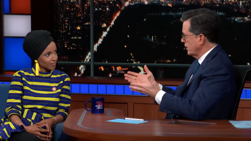 "Rep. Ilhan Omar (D-Minn.) appearing on ""The Late Show with Stephen Colbert."" Credit: Screenshot."