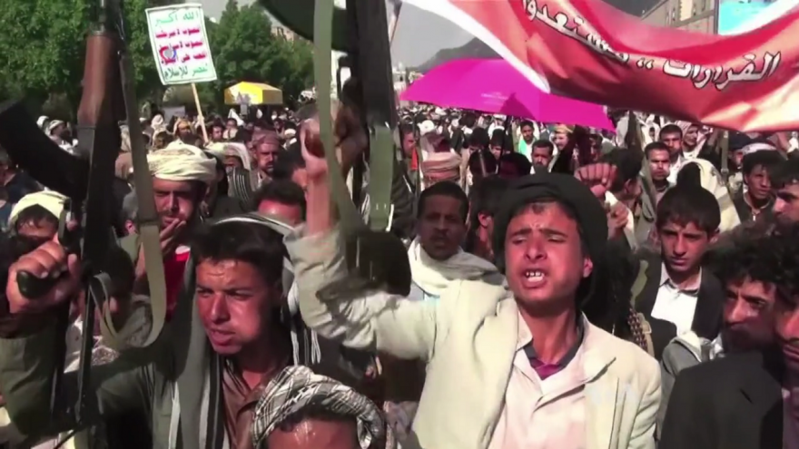 Houthis protest against airstrikes by the Saudi-led coalition on Sana'a, Yemen, in September 2015. Source: Henry Ridgwell, Voice of America.