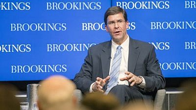 Then-U.S. Secretary of the Army Mark Esper outlines the U.S. Army Vision at the Brookings Institution in Washington, D.C., on June 5, 2018. Credit: Daniel Torok/U.S. National Guard.
