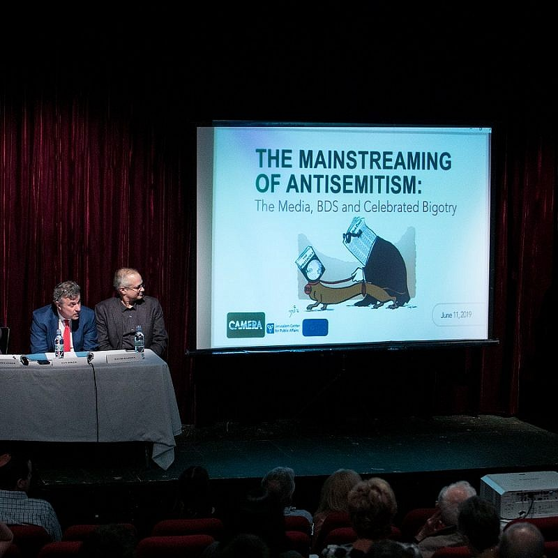 A panel of experts from the Jerusalem Center for Public Affairs and the Committee for Accuracy in Middle East Reporting in America (CAMERA) discuss anti-Semitism in the media, campus and public life. Photo by Kineret Rifkind.