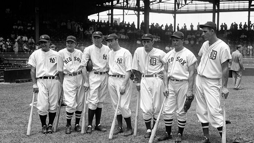 Seven of the American League's 1937 All-Star baseball players, from left: Lou Gehrig, Joe Cronin, Bill Dickey, Joe DiMaggio, Charlie Gehringer, Jimmie Foxx and Hank Greenberg. All seven would be elected to the Hall of Fame. Credit: Harris & Ewing via Wikimedia Commons.