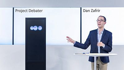 IBM Project Debater with Dan Zafrir. Credit: IBM Research/Flickr.