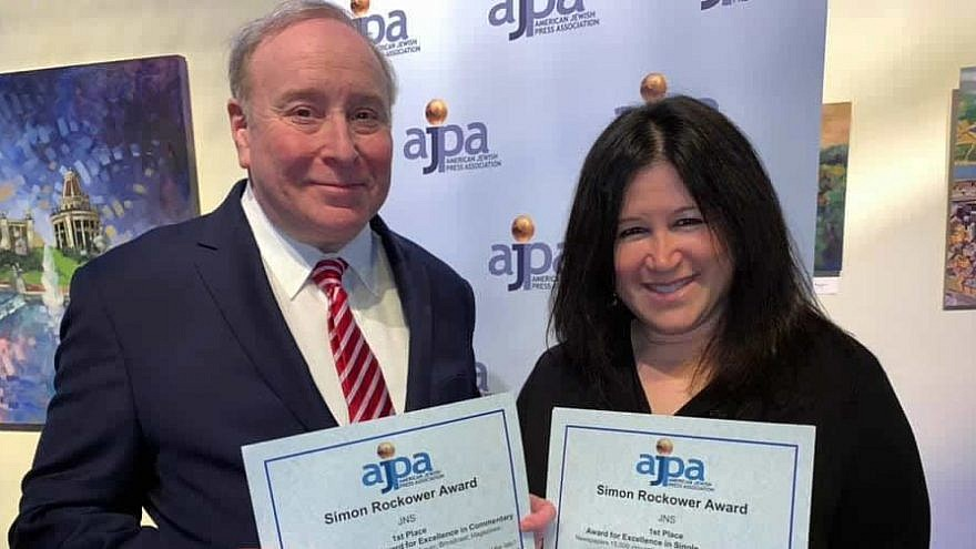 JNS editor in chief Jonathan S. Tobin and managing editor Carin M. Smilk at the American Jewish Press Association's 2019 annual journalism awards banquet, held in St. Louis on June 26, 2019. Photo by Alan Smason.