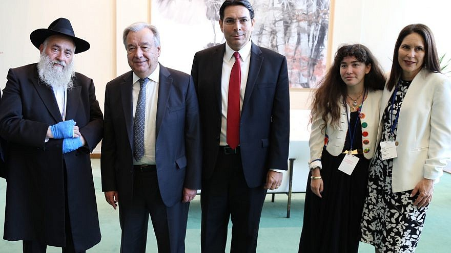 From left: Chabad of Poway Rabbi Yisroel Goldstein, U.N. Secretary General António Guterres, Israeli Ambassador to the United Nations Danny Danon, and Hannah Kaye and Randi Grossman (the daughter and sister of Lori Gilbert-Kaye, who was shot and killed in the Poway attack. Credit: Israel Mission to the U.N.
