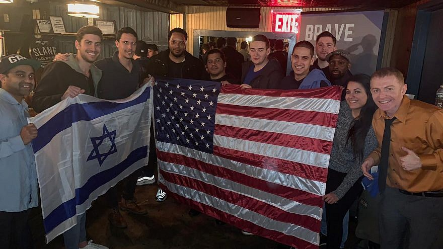 "U.S. and Israeli veterans attend a social function as part of the ""Brave"" program that brings together vets to share stories, learn about the Jewish state and stand up against hatred and anti-Semitism on campus. Credit: Courtesy."