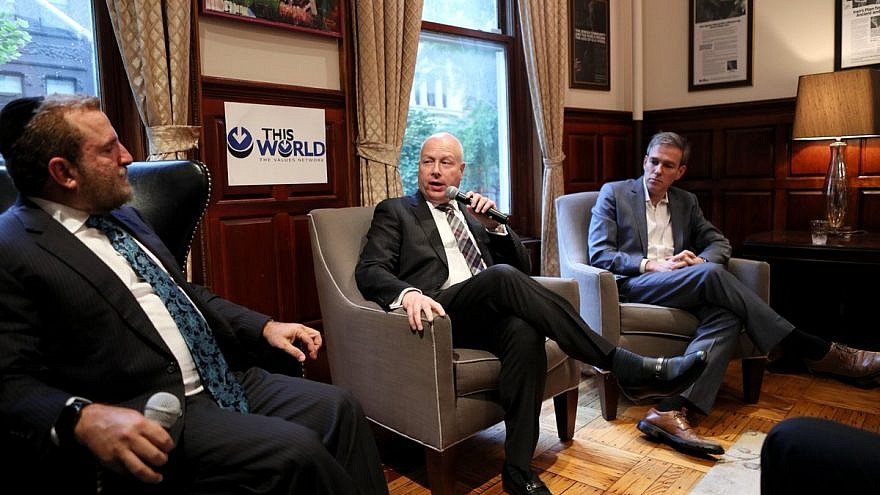 "From left: Rabbi Shmuley Boteach, head of the World Values Network; Jason Greenblatt, U.S. special envoy to the Middle East; and columnist Bret Stephens of ""The New York Times."" Credit: Shmuley Boteach via Twitter."
