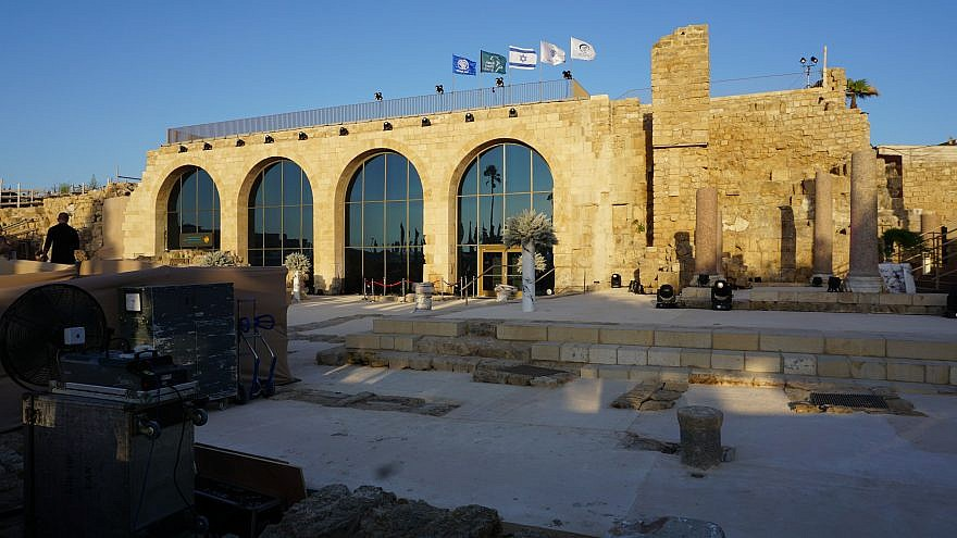 The new Visitor Center in Caesarea combines artifacts with innovative displays, including a 10-minute film telling the story of Herod and the building of Caesarea projected vertically onto one of the huge vault walls, May 2019. Photo by Judy Lash Balint.