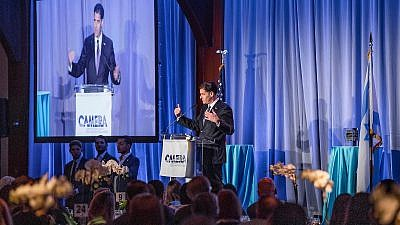 Israeli Ambassador to the United States Ron Dermer gives an address at the CAMERA gala event at Chelsea Piers in New York City on June 2, 2019. Photo by Billie Weiss/CAMERA.