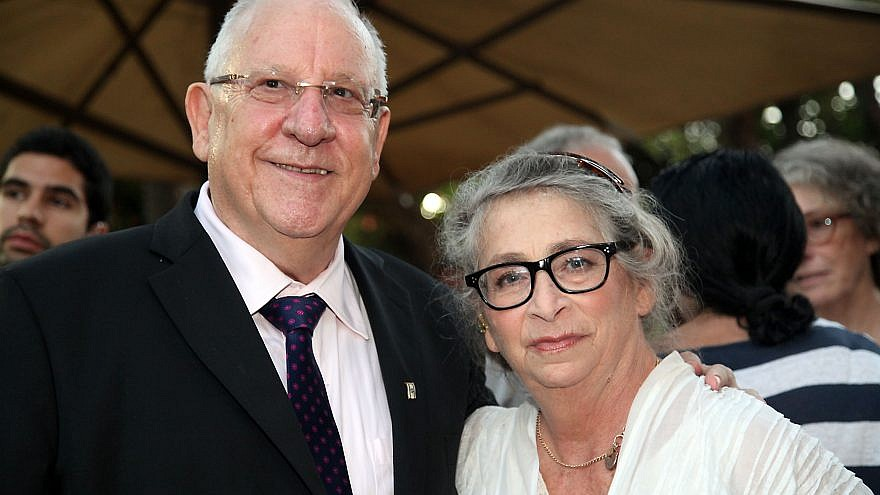 Israel's President Reuven Rivlin with his wife, Nechama Rivlin, during the French Ambassador's ceremony awarding the Legion Honor, at the ambassador's home in Jaffa, on June 18, 2014. Photo by Gideon Markowicz/Flash90.