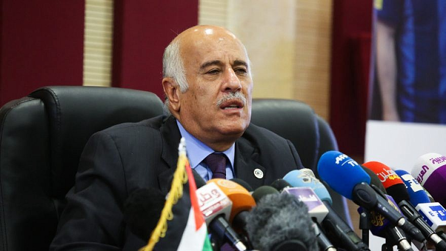 Fatah Central Committee member and Palestinian Football Association head Jibril Rajoub speaks during a press conference on the cancellation of the soccer match between Argentina and Israel, in Ramallah on June 6, 2018. Photo by Flash90.