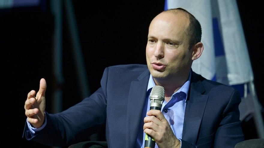 Israeli Education Minister Naftali Bennett speaks during a conference at Tel Aviv University on March 10, 2019. Photo by Flash90.