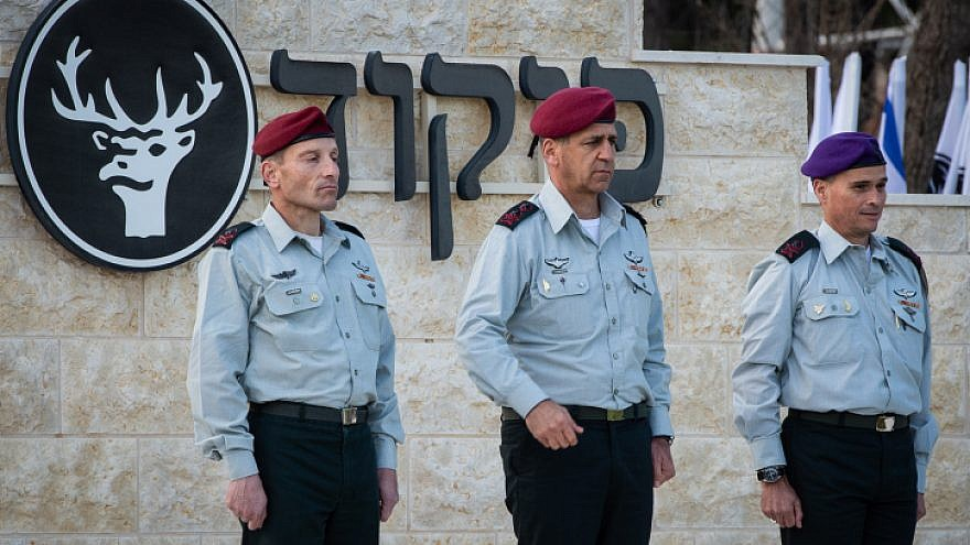 IDF Chief of Staff Aviv Kochavi (center) during a ceremony with incoming commander of the North Front Command, Amir Baram (left), and outgoing commander Yoel Streek, on April 3, 2019. Photo by Basel Awidat/Flash90.