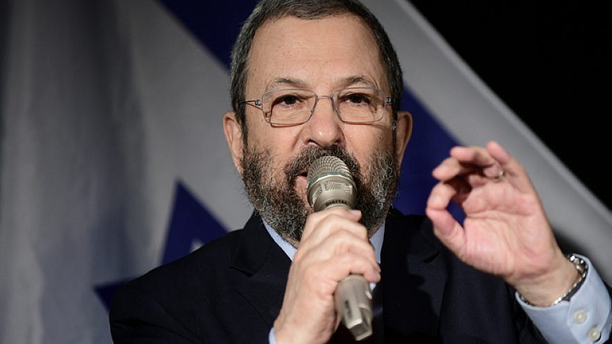 Former Israeli Prime Minister Ehud Barak during a press conference held by seniors of the defense establishment in Tel Aviv on April 3, 2019. Photo by Tomer Neuberg/Flash90.