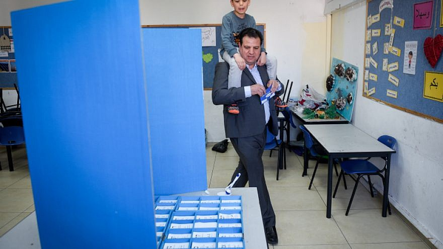 Israeli Arab Knesset member Ayman Odeh casts his ballot during Israel's April 9, 2019 election. Photo by Meir Vaknin/Flash90.