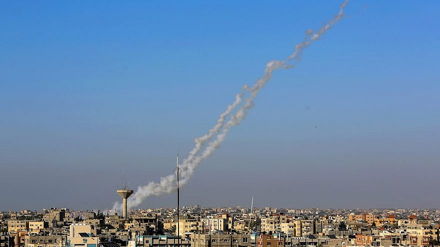 Smoke trails are seen as a rocket is launched from Rafah in the southern Gaza Strip to Israel on May 4, 2019. Credit: Abed Rahim Khatib/Flash90