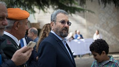 Former Israeli Defense Minister Ehud Barak at an event for outstanding soldiers as part of Israel's 71st Independence Day celebrations, at the President's Residence in Jerusalem on May 9, 2019. Photo by Noam Revkin Fenton/Flash90.