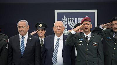 Israeli President Reuven Rivlin, IDF Chief of Staff Aviv Kochavi and Prime Minister Benjamin Netanyahu on May 9, 2019. Photo by Noam Revkin Fenton/Flash90.