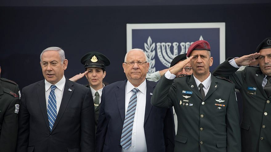 Israeli President Reuven Rivlin, IDF Chief of Staff Aviv Kochavi and Israeli Prime Minister Benjamin Netanyahu on May 9, 2019. Photo by Noam Revkin Fenton/Flash90.