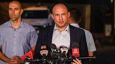 Naftali Bennett gives a statement to the media outside his home in Ra'anana on June 2, 2019, hours after being fired as education minister. Photo by Flash90.