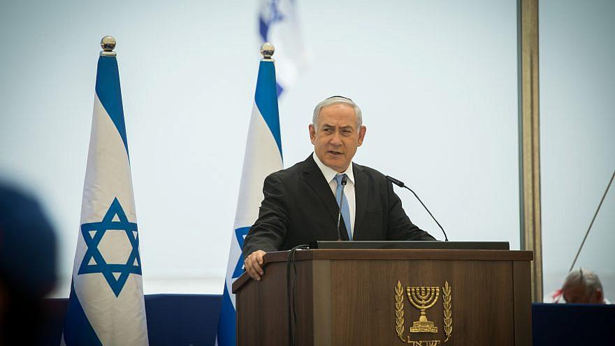 Israeli Prime Minister Benjamin Netanyahu speaks at the Ethiopian Immigrants Memorial Ceremony on Mount Herzl in Jerusalem on June 2, 2019. Photo by Noam Rivkin Fenton/Flash90.