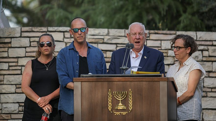 Israeli President Reuven Rivlin and his children at the Mount Herzl cemetery for the funeral of Nechama Rivlin, who passed away on June 4, one day before her 74th birthday on June 5, 2019. Photo by Hadas Parush/Flash90.