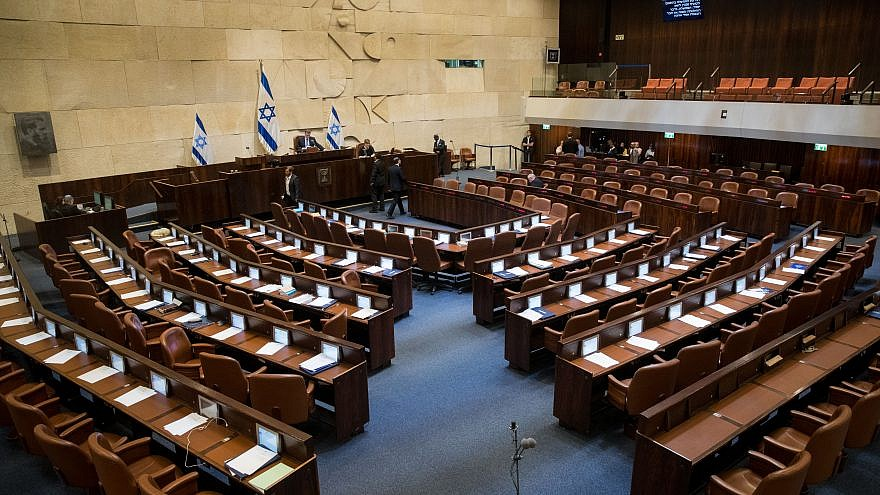 A general view of the assembly hall in the Israeli parliament in Jerusalem on June 12, 2019. Photo by Yonatan Sindel/Flash90.