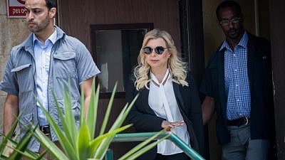 Sara Netanyahu, the wife of Israeli Prime Minister Benjamin Netanyahu, is seen leaving the Jerusalem Magistrate's Court on June 16, 2019. Photo by Yonatan Sindel/Flash90.