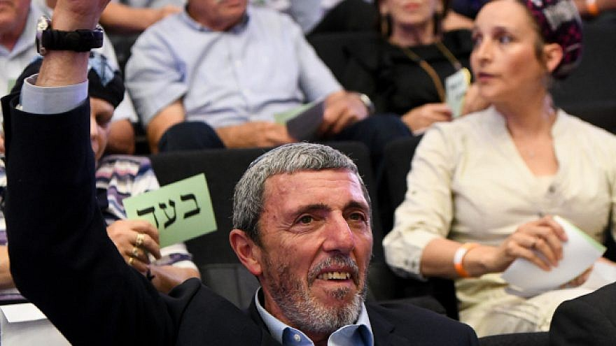 Rafi Peretz, Israel's education minister and leader of the Jewish Home Party, votes on the list of candidates for the upcoming elections at a gathering of the party in Ramat Gan, June 19, 2019. Photo by Yehuda Haim/Flash90.