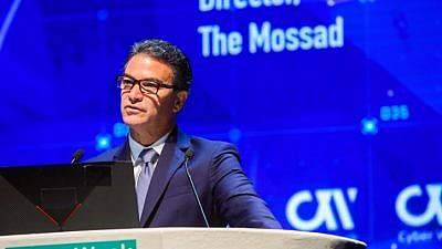 Mossad chief Yossi Cohen speaks at a Cyber Week at Tel Aviv University on June 24, 2019. Photo by Flash90.