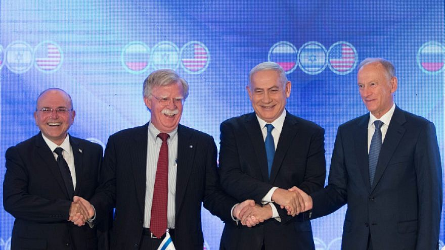 Israeli Prime Minister Benjamin Netanyahu (R2),  U.S. National Security Advisor John Bolton (L2), Nikolai Patrushev, secretary of the Russian Security Council (R), and Israeli national security adviser Meir Ben-Shabbat during the opening statements of a trilateral meeting at the Orient hotel in Jerusalem on June 25, 2019. Photo By Noam Revkin Fenton/Flash90.