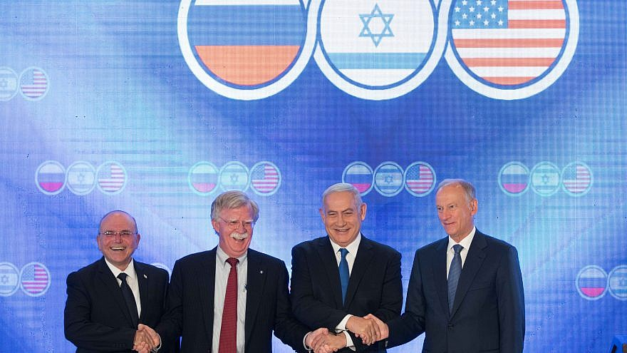 From left: Israeli National Security Adviser Meir Ben-Shabbat; U.S National Security Advisor John Bolton; Israeli Prime Minister Benjamin Netanyahu; and Nikolai Patrushev, secretary of the Russian Security Council during opening statements of a trilateral meeting between at the Orient in Jerusalem on June 25, 2019. Photo By Noam Revkin Fenton/Flash90.