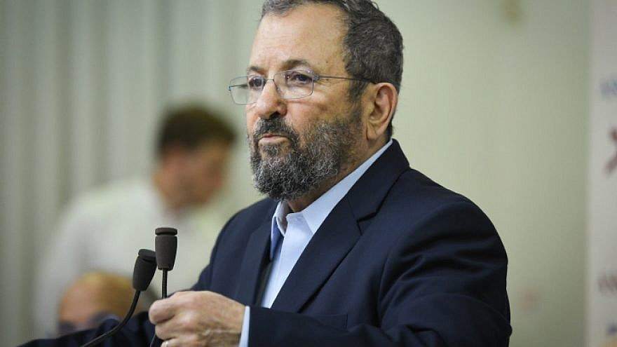 Former Israeli Prime Minister Ehud Barak at a press conference in Tel Aviv announcing the establishment of his new political party on June 26, 2019. Photo by Flash90.