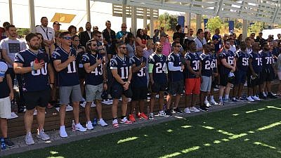 "More than a dozen players from the 2019 Super Bowl Champion New England Patriots in Israel as part of the program ""Touchdown in Israel III,"" the third installment of a VIP trip to Israel for NFL players organized by Patriots chairman and CEO Robert Kraft. Credit: Josh Hasten."