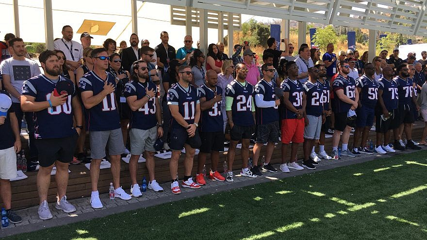 """More than a dozen players from the 2019 Super Bowl Champion New England Patriots in Israel as part of the program """"Touchdown in Israel III,"""" the third installment of a VIP trip to Israel for NFL players organized by Patriots chairman and CEO Robert Kraft. Credit: Josh Hasten."""