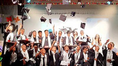 Students from Jewish Agency youth village Neve Midbar-Nitzana celebrate their graduation, June 2019. Photo by Shafik Abu Habak.